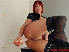 Hot redhead Fetish lady masturbate with a big dildo