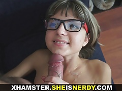 She Is Nerdy - Cum shower on her eyeglasses