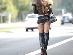The Best hooker:exhibitionist in microskirt&high heels boots