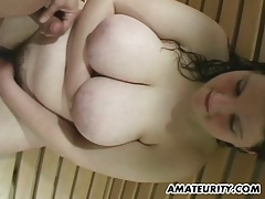 Busty chubby amateur girl sucks and fucks in a spa