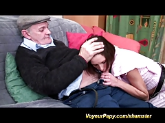Papy enjoys couple in doggy fuck