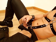 Fetish gay with boots and chaps - jerking